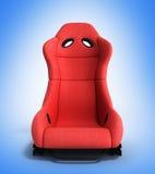 Illustration rouge sportive de l'avant 3d de fauteuil d'automobile sur un gradie Image stock