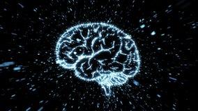Illustration rougeoyante de cerveau fromed de l'explosion de particules avec la tache floue de mouvement Illustration Stock