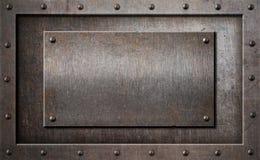 Illustration rouillée ou rustique vieil en métal de cadre du fond 3d Photographie stock