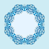 Illustration of round frame from abstract element. On blue background Stock Photo