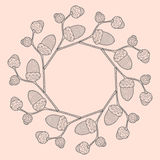 Illustration of round frame from graphic oak twig with acorns. On pink background Royalty Free Stock Photo