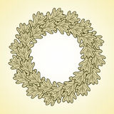 Illustration round frame from oak leaves. Illustration round frame from graphic oak leaves Royalty Free Stock Image
