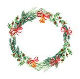 Christmas and new year wreath. Illustration of round garland with botanical design elements, hand painting decorative isolated pattern for your celebrating text vector illustration