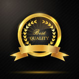 Round golden best quality badge with ribbon. Illustration of Round golden best quality badge with ribbon Stock Image
