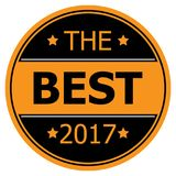 The Best 2017. An illustration of a round label with the text 'The Best 2017 stock illustration