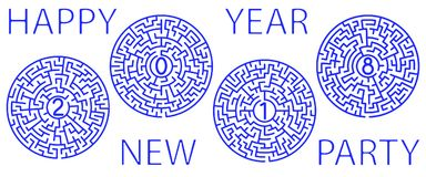 Mazes 2018 lettering. Illustration of the 2018 round mazes lettering Royalty Free Stock Photography