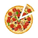 Pizza sliced on white. Illustration of round meat and vegetables tasty pizza sliced isolated on white background stock illustration
