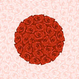 Illustration of round from red roses on background made from pin. K rose Stock Image