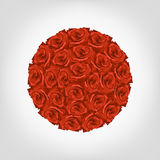 Illustration of round from red roses. On white background Stock Images