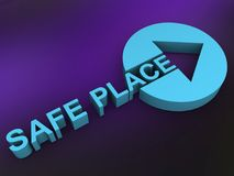 """Safe place. An illustration of a round symbol with an arrow and the text """"safe place Stock Image"""