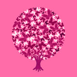 Illustration round tree of butterflies. On pink background Royalty Free Stock Photography