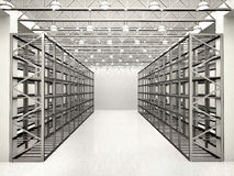 Illustration of rows of shelves with boxes in modern warehous Stock Images