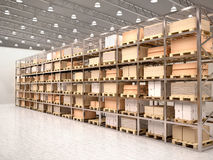 Illustration of rows of shelves with boxes in modern warehous Stock Photos