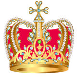 Of royal gold crown with jewels and ornament Royalty Free Stock Image