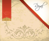 Royal invitation on old paper with red ribbon Stock Photo