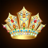 Illustration royal shiny gold crown with precious stones and jew Stock Photos
