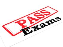 Pass exams. An illustration of a rubber stamp 'pass' on the top of the word 'Exams Royalty Free Stock Photo