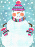 Illustration of ruddy snowman wearing scarf, hat with pompon, gloves isolated on snowing background Stock Images