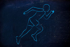 Illustration with a runner or jogger man making a sprint Royalty Free Stock Photography