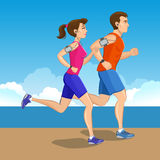 Illustration of a runners - couple running Stock Photography