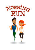 Illustration of a runners - couple running, health conscious concept. Sporty woman and man jogging. Vector Royalty Free Stock Photo