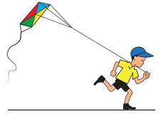 Boy with kite flying. Illustration of a running boy with a flying kite Royalty Free Stock Images