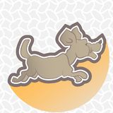 Illustration of the running dog on an abstract background. Vector illustrator royalty free illustration