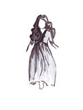 Illustration of a running girl in a long dress and a thick long hair. On a white background Royalty Free Stock Photo
