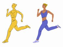 Illustration of a running woman, vector draw royalty free stock photo