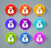 Rupee sack icons. Illustration of rupee sack icons with various colors Stock Photos