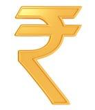 Illustration of rupee symbol. 3d illustration of indian rupee symbol in golden color Royalty Free Stock Images
