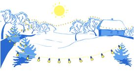 Illustration of rural areas. In the sunny winter day, Christmas holiday stock illustration