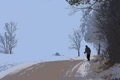 Illustration .Rural scene . Old man walking near home. stock illustration
