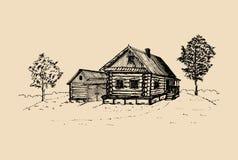 Illustration rurale de paysage de vecteur Affiche russe tirée par la main de campagne Croquis de maison de paysans de village Photo libre de droits