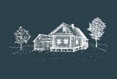 Illustration rurale de paysage de vecteur Affiche russe tirée par la main de campagne Croquis de maison de paysans de village Photographie stock