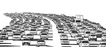 Illustration of rush hour traffic jam on freeway. Stylized drawing of american freeway in rush hour traffic in black and white Stock Image