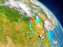 Rwanda from orbit. Illustration of Rwanda as seen from Earth's orbit. 3D illustration. Elements of this image furnished by NASA Stock Photography