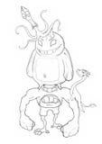 Illustration : Série de livre de coloriage : Kung Fu Rabbit et ses monstres de Mauvais-cul du battement deux d'amis illustration de vecteur