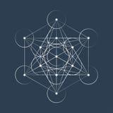 Illustration sacrée de la géométrie de cube en Metatrons Photos libres de droits