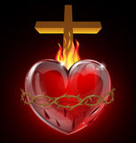 Illustration of the Sacred Heart. Illustration of the Most Sacred Heart of Jesus. A bleeding heart with flames, pierced by a lance wound with crown of thorns and Royalty Free Stock Images