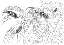 Illustration sad angel created in sketch style Stock Photo