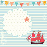 Illustration with sail boat Royalty Free Stock Photos
