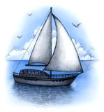 Illustration of sailing boat Stock Photos