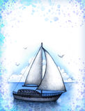 Illustration of sailing boat Royalty Free Stock Photo