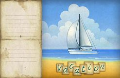 Illustration of sailing boat Stock Photo