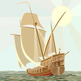 Illustration of sailing ships of the 17th century. Royalty Free Stock Image