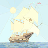 Illustration of sailing ships of the 17th century. Royalty Free Stock Photos