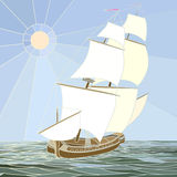 Illustration of sailing ships of the 17th century. Stock Image