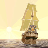 Illustration of sailing ships of the 17th century at sunset. Royalty Free Stock Photography