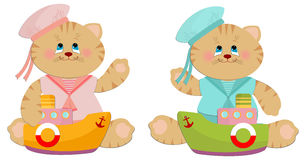 Illustration of sailor cats toys Stock Photos